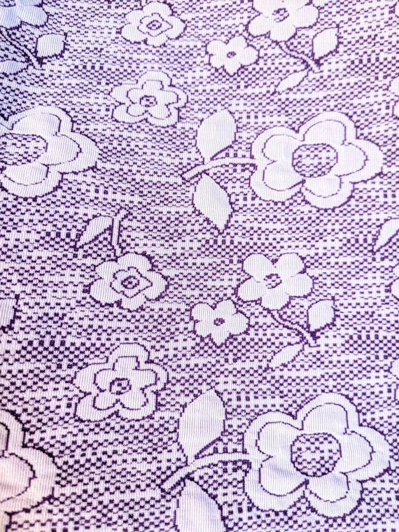 70s Purple & White Floral Polyester Bell Sleeve M… - image 7