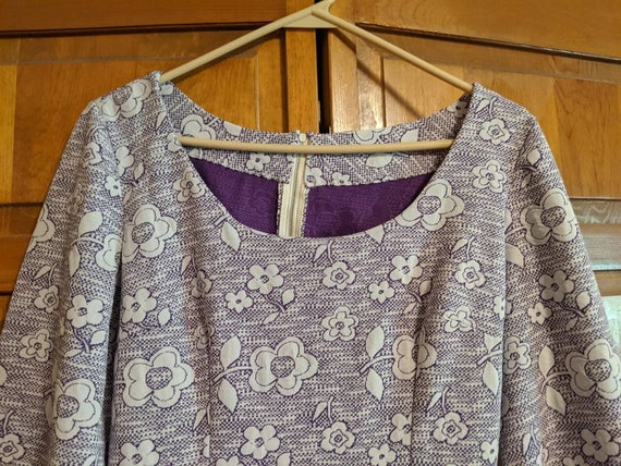 70s Purple & White Floral Polyester Bell Sleeve M… - image 6