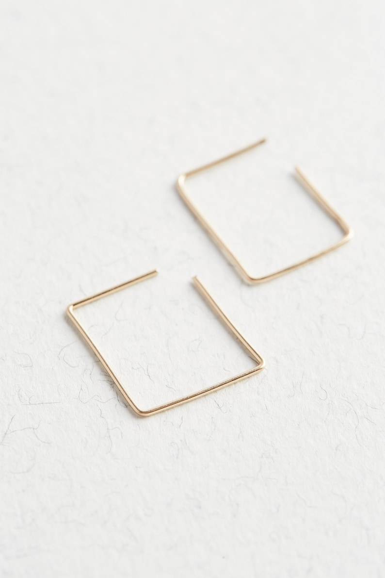 Hoop Earrings Gold Square Hoops Gold Hoops Gold Earrings Square Hoop Earrings 14K Gold Hoop Earrings Minimalist Gold Earrings