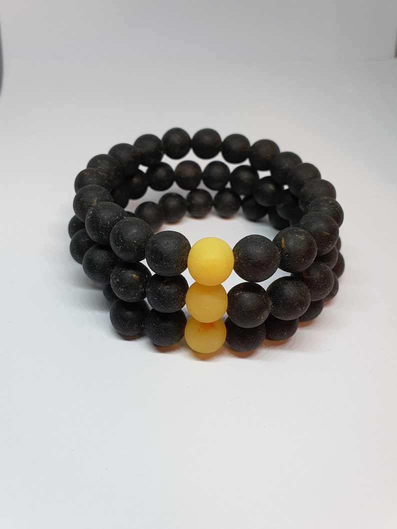 Pressed Amber Bracelet  Black ~20cm. pressed amber beads  Amber jewelry reconstructed amber  Bracelet from rounded