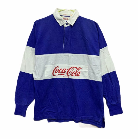 Vintage Coca Cola Rugby Shirt Polo T Shirt