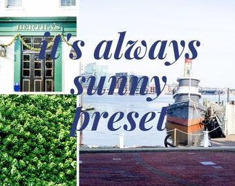 It's Always Sunny Preset // Lightroom Presets // Light & Airy Lightroom Presets / XMP