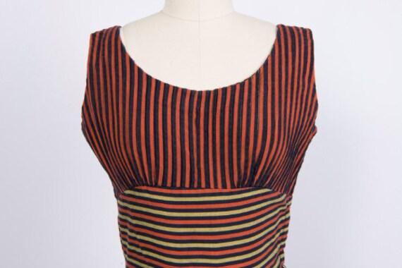 Vintage 1950s Dress // 50s Red Black Gold Striped… - image 3