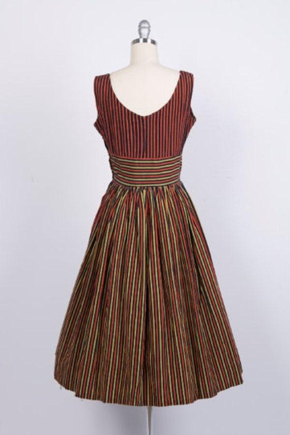 Vintage 1950s Dress // 50s Red Black Gold Striped… - image 5