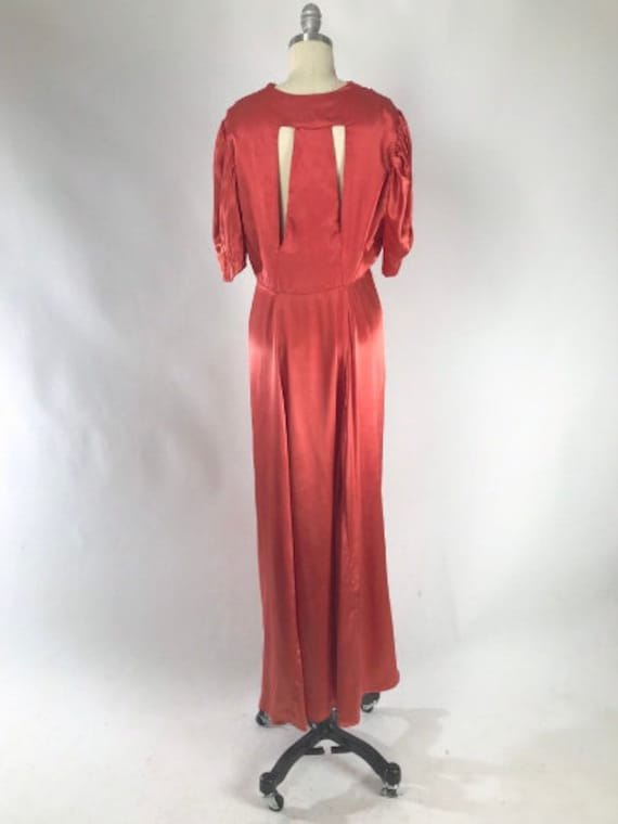 Vintage 1930s Cutout Dress // 30s Coral Satin Eve… - image 6