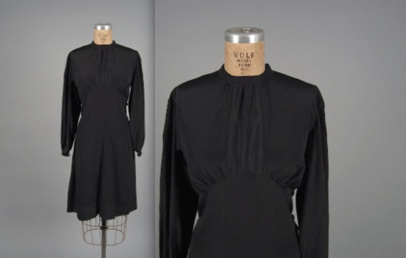 Rare Volup 1930s Dress // 30s Black Silk Rayon Dre