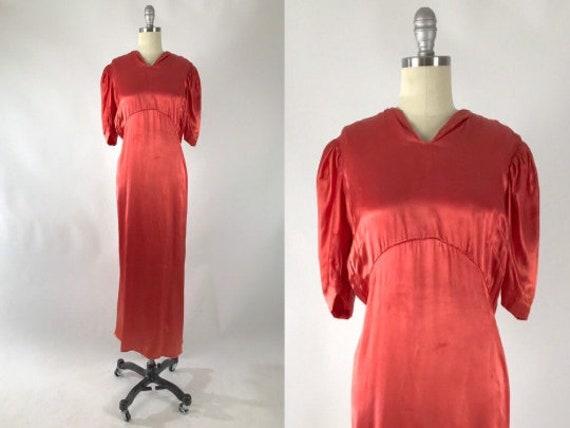 Vintage 1930s Cutout Dress // 30s Coral Satin Eve… - image 1