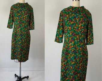 Vintage 60s Dress // 1960s Mod Wool Dress // Edith Flagg // Colorful Floral Sheath // Green Orange Purple // Secretary Dress  // Mad Men