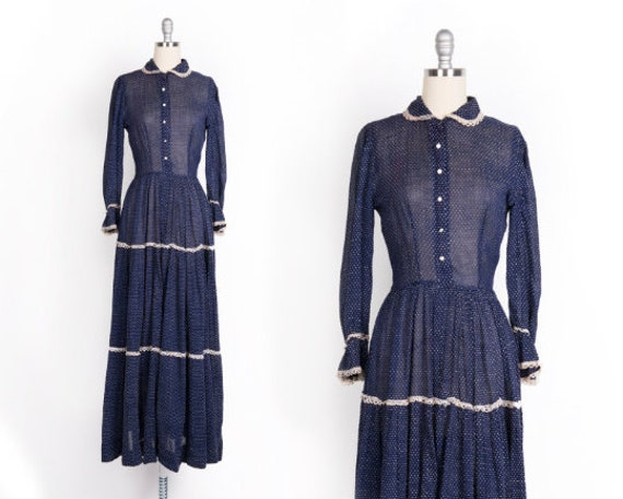 Vintage 1930s Dress // Late 30s Day Dress // 30s N