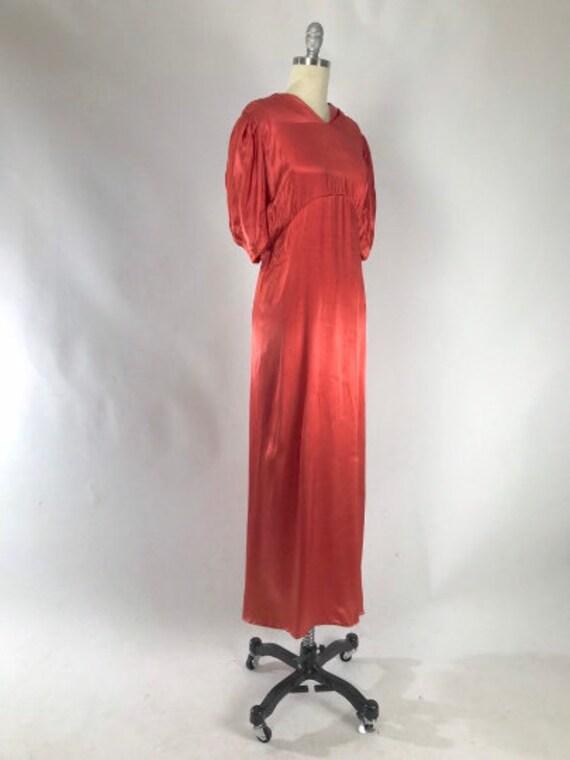 Vintage 1930s Cutout Dress // 30s Coral Satin Eve… - image 3