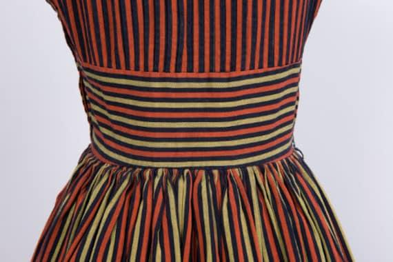 Vintage 1950s Dress // 50s Red Black Gold Striped… - image 4