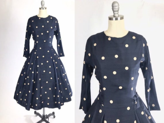 Vintage 1950s Dress // 50s Polka Dot Silk I Love L