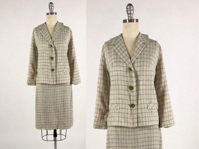 Vintage 1960s Dress Suit  60s Plaid Skirt Set  Two Piece Office Suit   Pencil Skirt and Boxy Blazer  Windowpane Suit  Mod Office