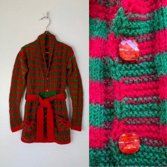 winter granny knit wool top. Kids red pullover jumper 1980s handknit sweater boys/' vintage girls clothing