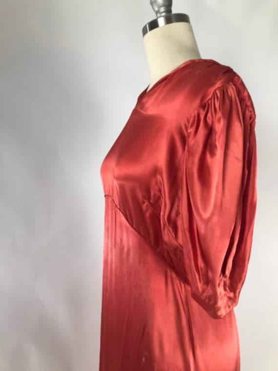 Vintage 1930s Cutout Dress // 30s Coral Satin Eve… - image 4