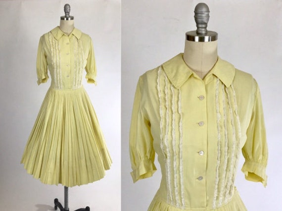 Vintage 1950s Shirtwaist Dress // 50s Cotton Day D