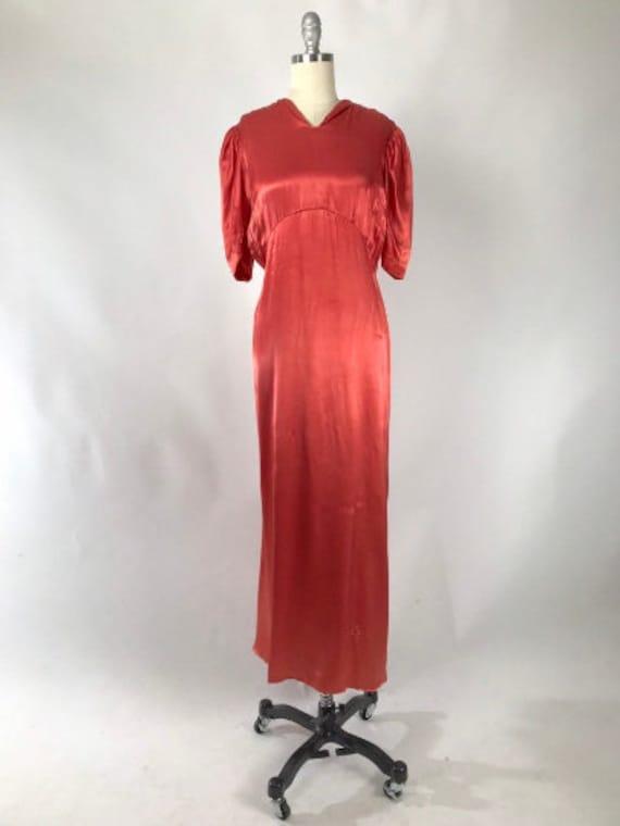 Vintage 1930s Cutout Dress // 30s Coral Satin Eve… - image 2