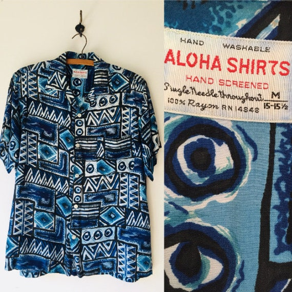 Vintage 50s Hawaiian Shirt // 1950s Hand Screened
