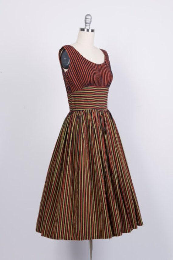 Vintage 1950s Dress // 50s Red Black Gold Striped… - image 2