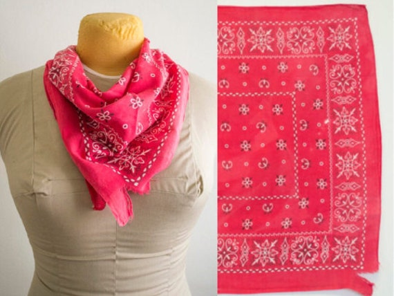 1950s Red Fast Color Bandana // 100% Cotton // 50s