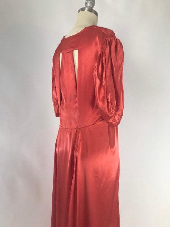 Vintage 1930s Cutout Dress // 30s Coral Satin Eve… - image 5