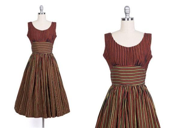 Vintage 1950s Dress // 50s Red Black Gold Striped
