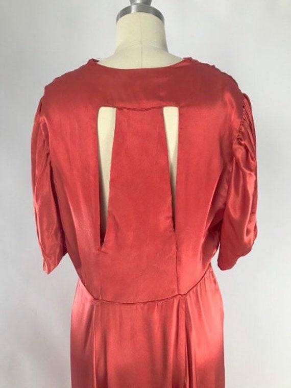 Vintage 1930s Cutout Dress // 30s Coral Satin Eve… - image 7