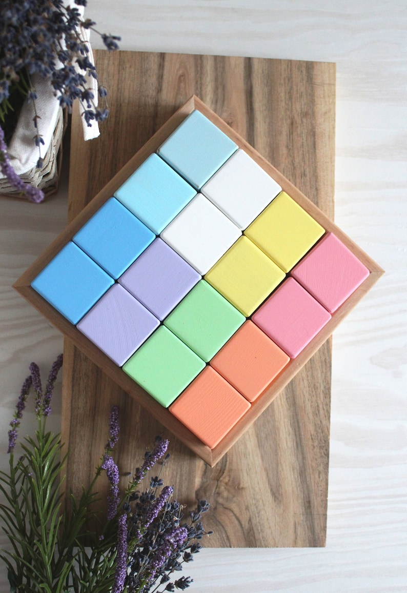 Christmas Gift Pastel Rainbow Wooden Blocks Stacking Natural Baby Toy Montessori Waldorf Reggio Gift for baby Wooden cubes 1st Birthday Gift