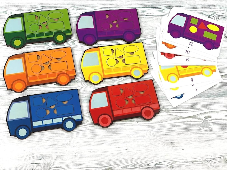 Wooden Montessori Puzzle Cars Rainbow Boys gift Toddlers toys Kids Gift Girl Boy Waldorf Classroom Preschool Birthday Learning Colors Shapes