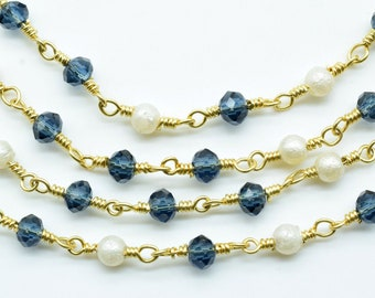 LONDON BLUE Topaz CoinDisc Beads Rosary Chain 24K Gold Plated Hydro Quartz Jewelry Making Beaded Chain For Necklace DIY Jewelry Making