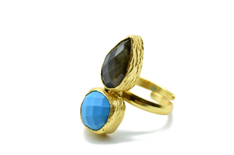 Blue Turquoise Ring,Multi Stone Ring,18k Gold Plated,Ocean Blue Ring,Stacking Ring,Gold Spike Ring,Multi Birthstone Ring,Solitaire Ring,Gift