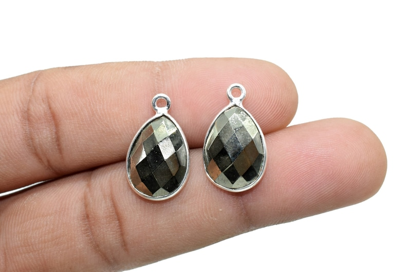 Natural Pyrite 10x14mm Pear single bail connectors,Pyrite connectors,Pyrite jewelry making charms,Pyrite single bail Silver Plated bezel,