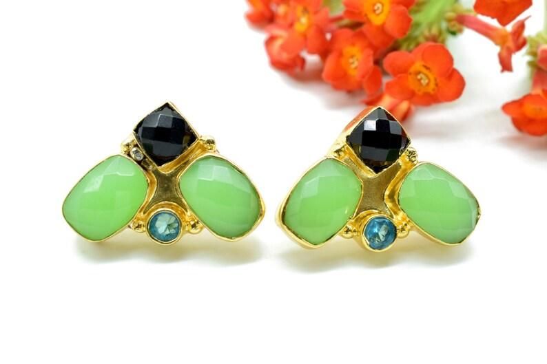 Chrysoprase Studs Earring,Multi Stone Earring,Mixed Gemstone,Handmade Earrings,Black Onyx Earring,Blue Topaz Earring,Christmas,Boho,Gift For