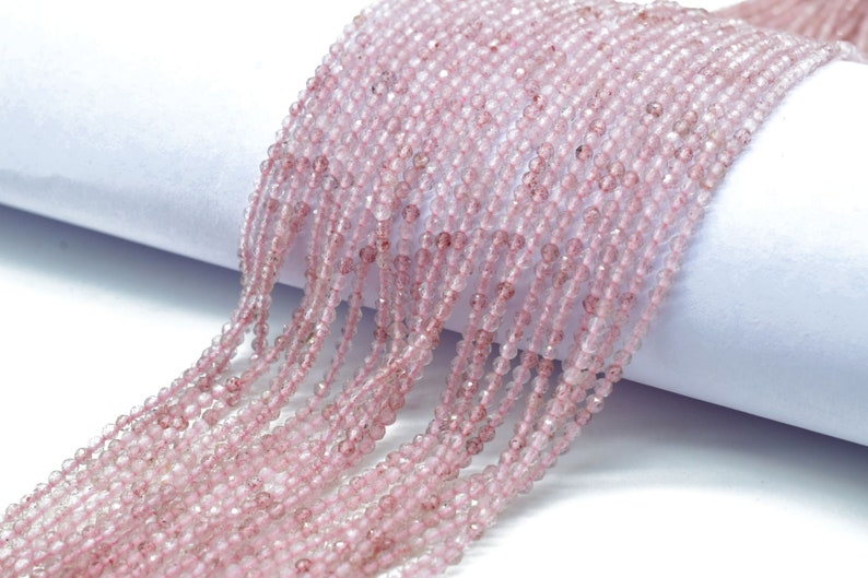 Pink STRAWBERRY beads,Quartz stone beads,2mm Faceted beads,jewelry making craft,Strawberry Quartz beads,pink beads strand,AAA Quality beads