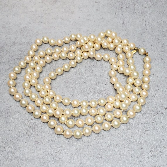 Marvella pearl necklace, Vintage long faux pearl … - image 1