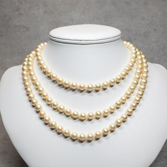 Marvella pearl necklace, Vintage long faux pearl … - image 9