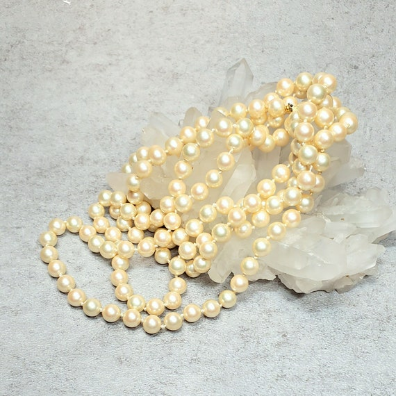 Marvella pearl necklace, Vintage long faux pearl … - image 8