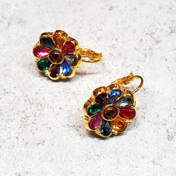 Joan Rivers jewelry, Rhinestone flower earrings c… - image 2
