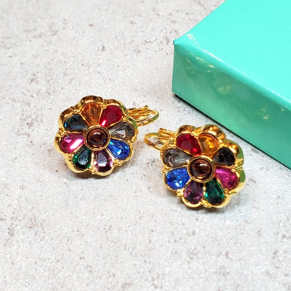 Joan Rivers jewelry, Rhinestone flower earrings co