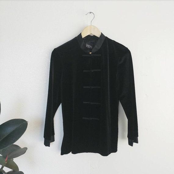 Unique 90's Black Velvet Top