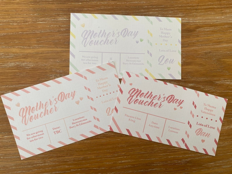 Mother\u2019s Day gift voucher receipt IOU theatremealspaevent any personalisation