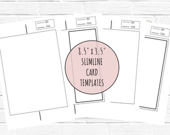 8.5 x 3.5 Slimline Card Templates, Instant Download Greeting Card Template, Portrait template and Landscape template, DIY Card Template