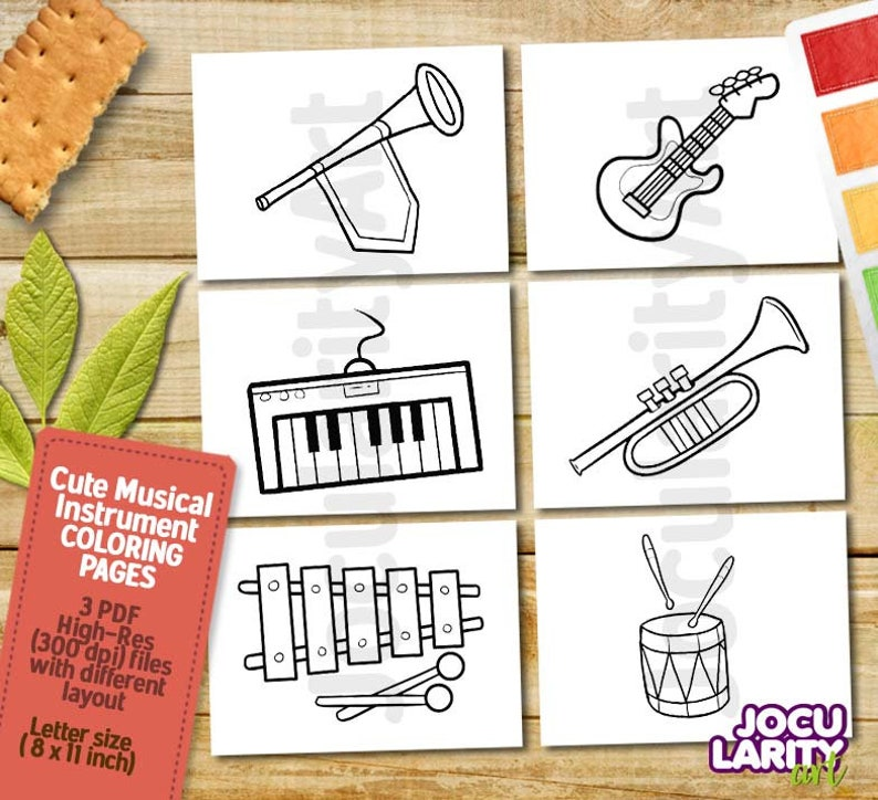 Nod Printable Coloring Page - Instruments for Musical Kiddos ... | 724x794