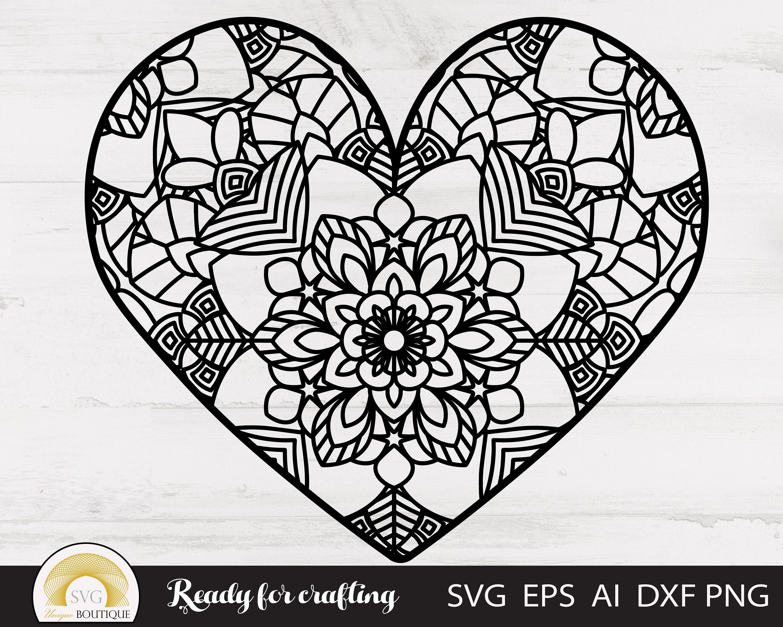 Download Mandala svg Heart svg Love svg Valentine svg Svg files for | Etsy
