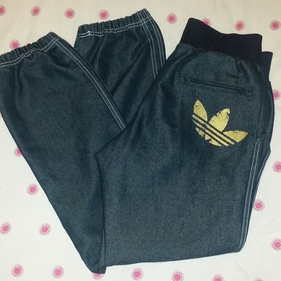 Adidas Originals denim cuffed jeans tracksuit bott