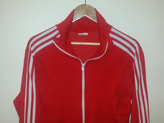 Adidas Red tracksuit jacket with white stripes