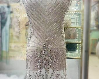 big handmade rhinestone applique, silver front bodice beading bodice applique, vintage motif lace applique for bridal wedding gown