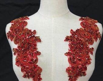 exquisite red rhinestone applique, crystal beaded lace applique pair, beaded applique for bridal sash headpiece bodice accessories
