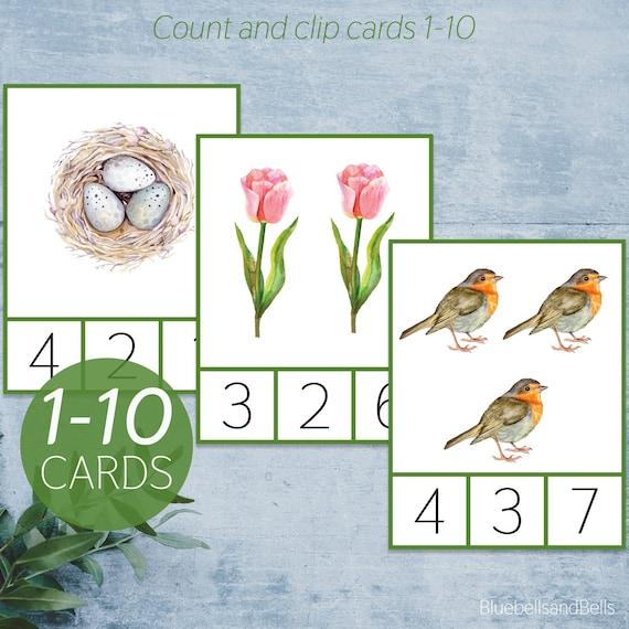 Spring count and clip cards 1-10. Montessori preschool math