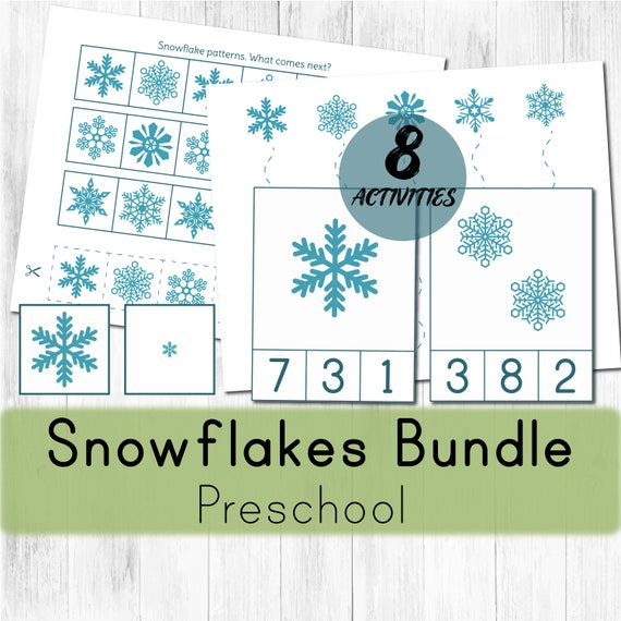 Snowflake preschool activities. Montessori winter printable